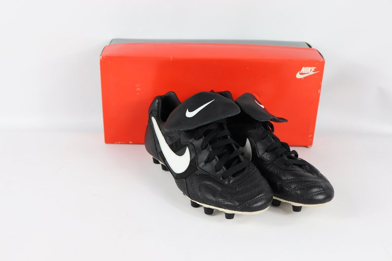 3bbe63857fb 90s New Nike Tiempo Premier M Leather Soccer Shoes Cleats Boots Mens Black,  90s Nike, 90s Nike Shoes, 90s Nike Soccer, 90s Soccer, Nike