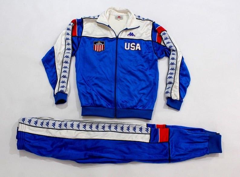 9a897cceb9 80s Kappa 1984 Olympics USA Track and Field Athlete Worn Warm Up Suit  Jacket Joggers Mens Medium Blue, Vintage Kappa Jacket, 80s Kappa Pants