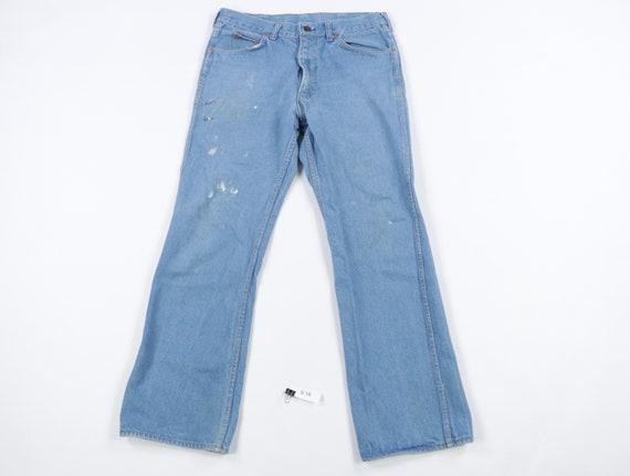70s Distressed Faded Flared Leg Bell Bottom Denim… - image 1