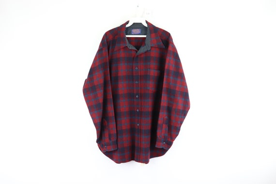 60s Pendleton Rockabilly Hipster Wool Plaid Button