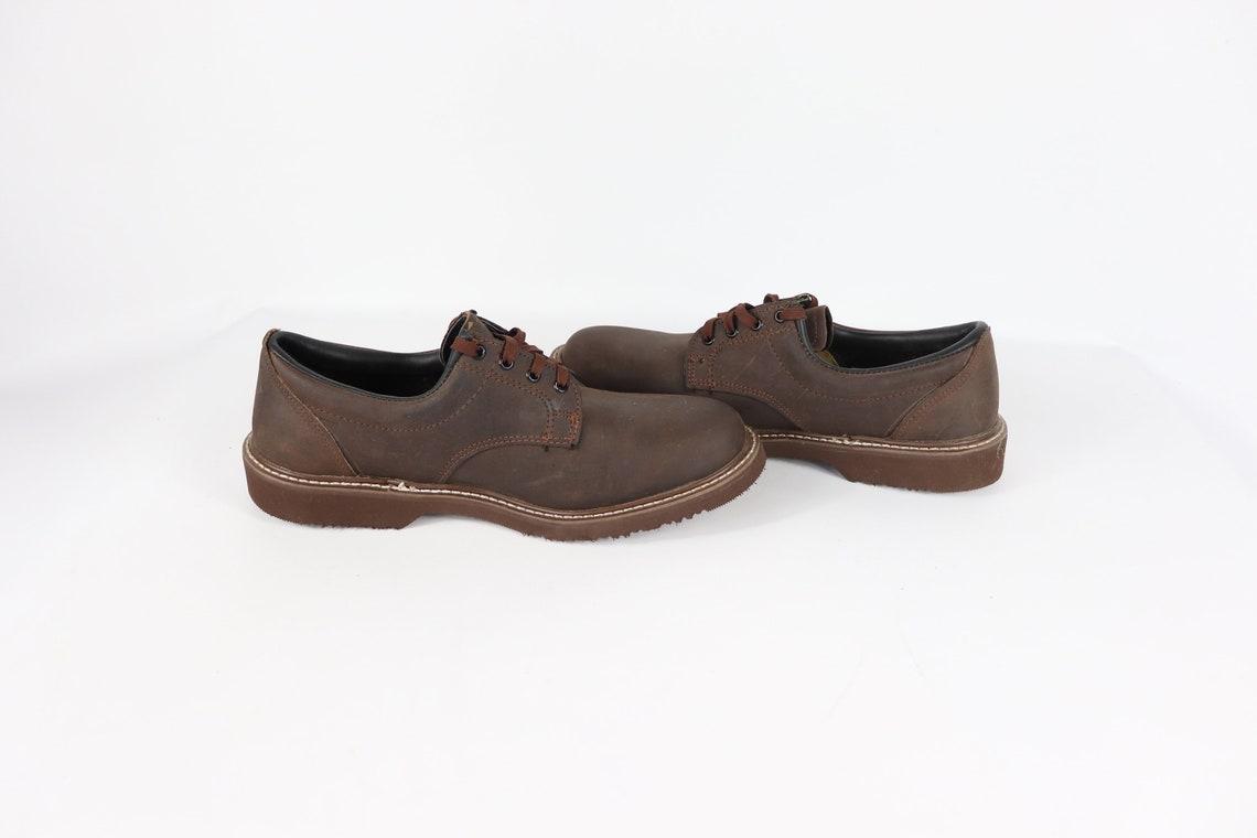 90 Nueva Carolina Hombres 9.5 D Cuero Encaje Hasta Oxford Vestido Zapatos de Trabajo Zapatos de Trabajo, Vintage Carolina Botas, 1990s Hombres Botas, Oxford Zapatos de Trabajo