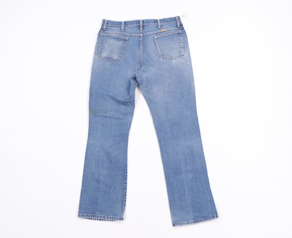 70s Rustler Distressed Bootcut Denim Jeans Blue U… - image 6