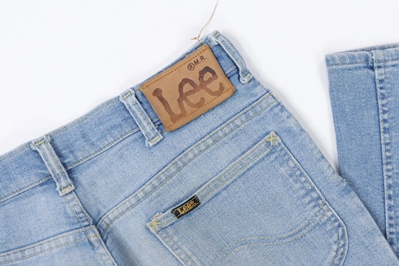 70s Lee MR Distressed Faded Flare Wide Leg Jeans … - image 5