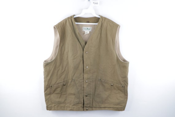 90s LL Bean Distressed Faded Fleece Lined Vest Jac