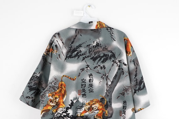 90s Streetwear Anime Tiger All Over Print Button … - image 6