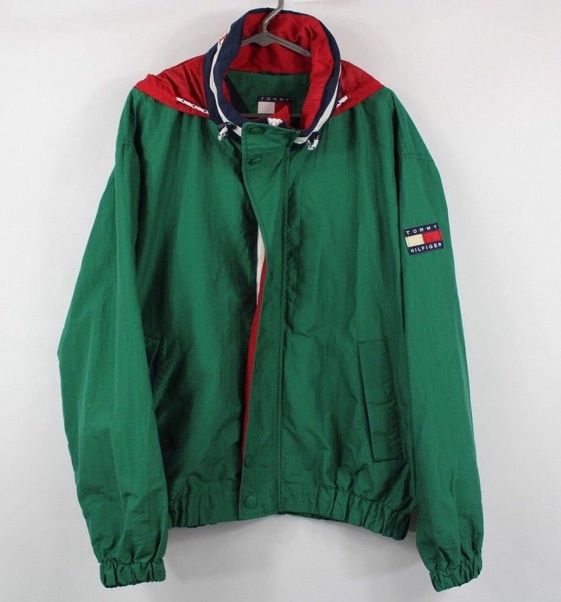 cc96a97be 90s Tommy Hilfiger Spell Out Full Zip Nylon Windbreaker Jacket Mens XL,  Vintage Tommy Hilfiger Jacket, Windbreaker Jacket Green, Mens Jacket