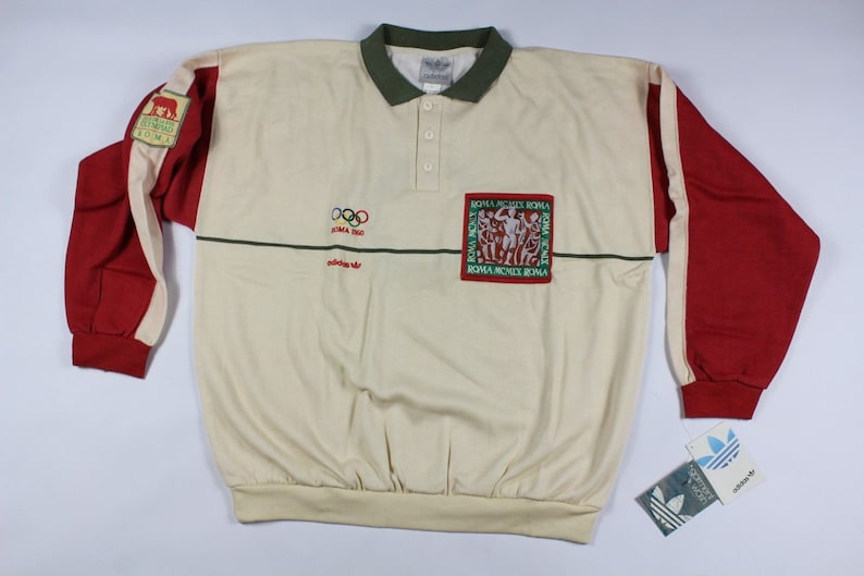 f59117d862a6 80s New Adidas 1960 Roma Olympics Series Spell Out Pullover Knit Sweater  Mens Large