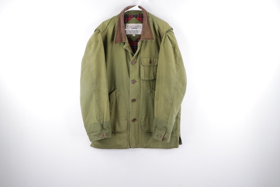 90s Flannel Lined Leather Collar Faded Chore Barn