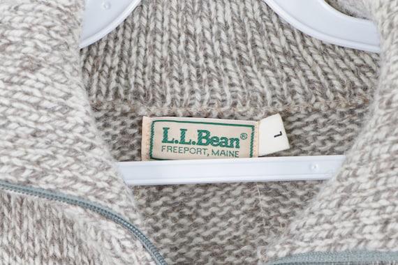 80s LL Bean Wool Full Zip Sweater Jacket Heather … - image 4