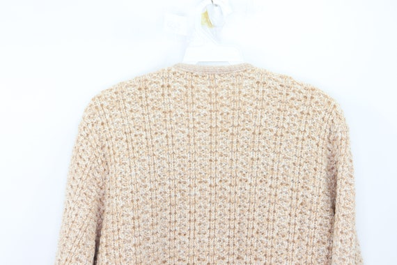 50s Hand Knit Cable Cowichan Cardigan Sweater Bei… - image 6