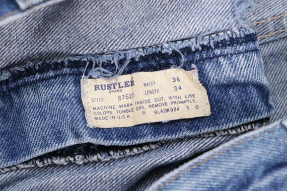 70s Rustler Distressed Bootcut Denim Jeans Blue U… - image 4