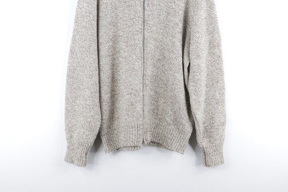 80s LL Bean Wool Full Zip Sweater Jacket Heather … - image 3