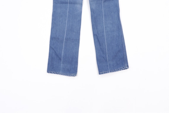 70s Distressed Faded Wide Leg Denim Jeans Blue Ta… - image 8
