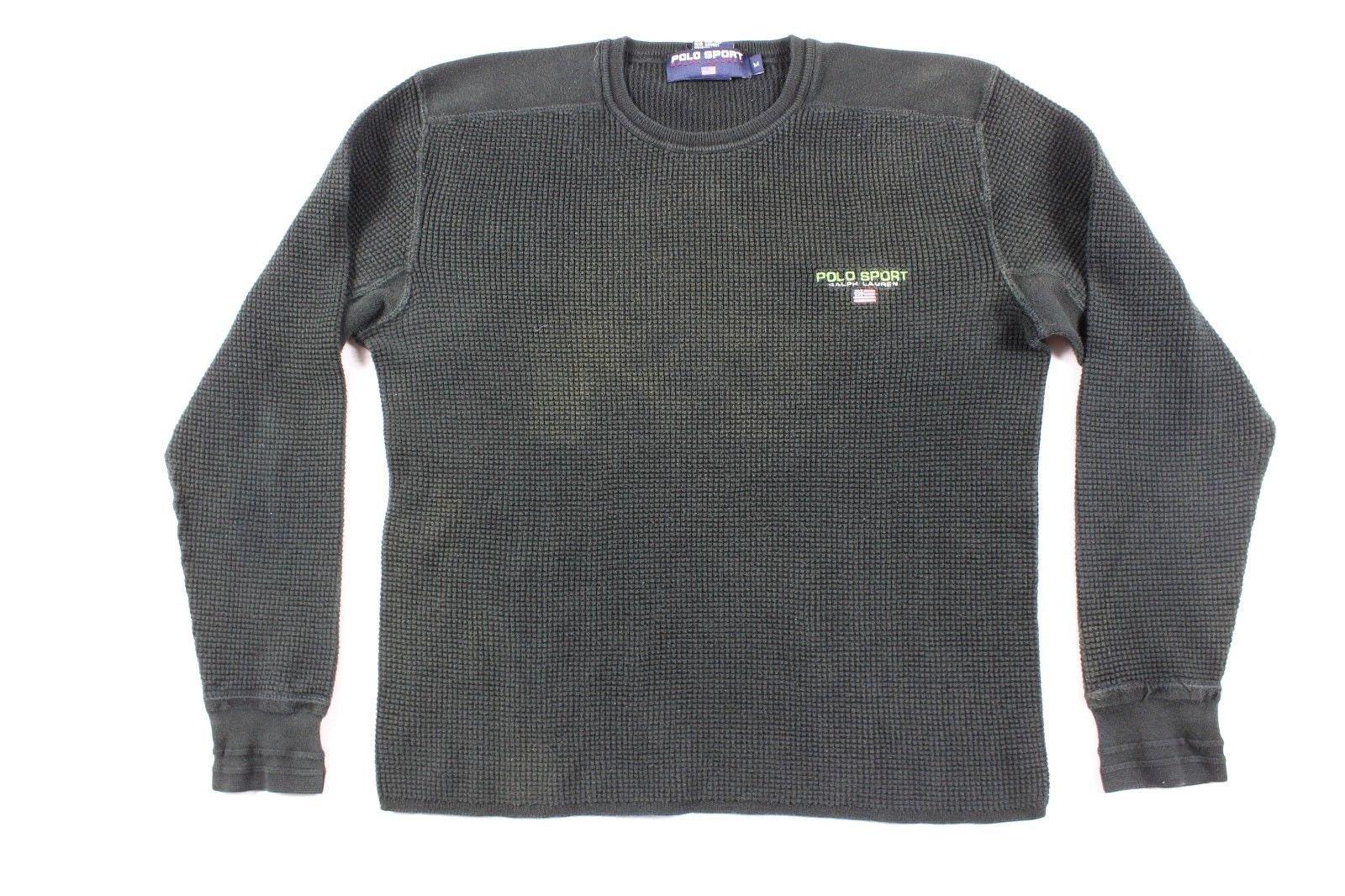 90 s longues Polo Sport Ralph Lauren sort à manches longues s USA Flag  thermique chemise Mens Medium noir, T-Shirt de Sport Polo Vintage, des  années 90, ... 7e602f783afb