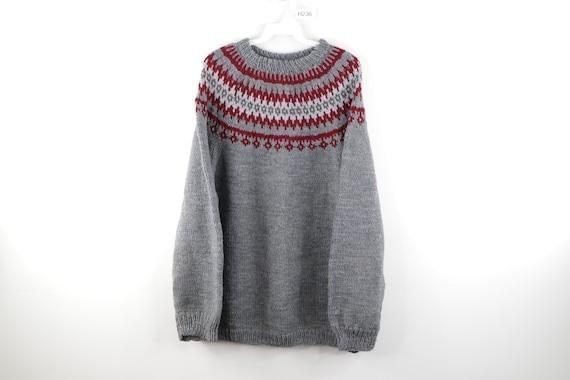 50s Handknit Wool Cowichan Fair Isle Print Sweater