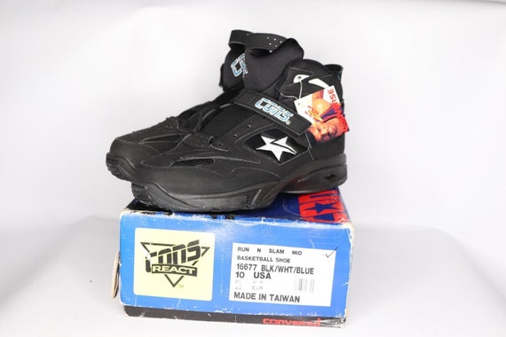 90s New Converse Cons React Back Jam Mid Larry Johnson Basketball Shoes Mens 10 Black Charlotte Hornets, Vintage Larry Johnson Shoes, Cons