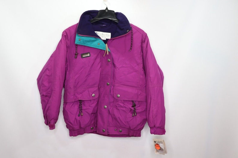 6354b3b0dec288 90s New Columbia Spell Out Fleece Lined Winter Jacket Womens