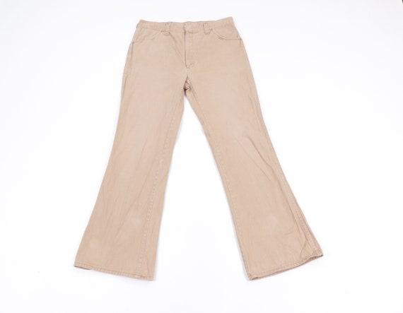 70s Chamois Cloth Bell Bottoms Chino Pants Khaki T