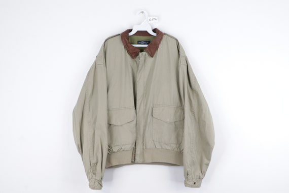 90s Nautica Spell Out Leather Collar Full Zip Bomb