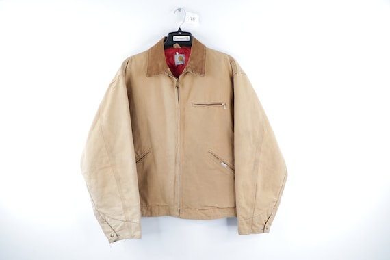 90s Carhartt Spell Out Distressed Faded Corduroy … - image 1