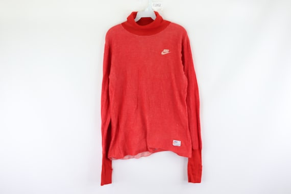 70s Nike Spell Out Swoosh Thermal Knit Turtleneck