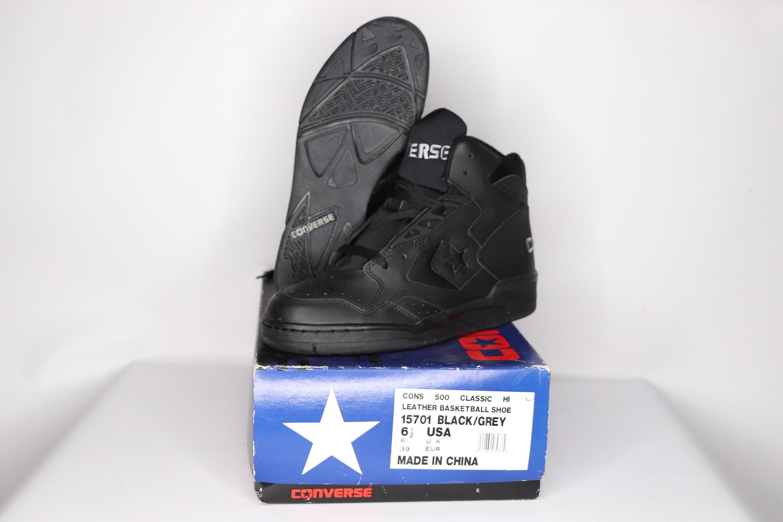 e79b960c447d68 90s New Converse Cons 500 Classic Hi Leather Basketball Shoes Black Gray  Mens