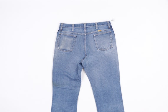 70s Rustler Distressed Bootcut Denim Jeans Blue U… - image 7