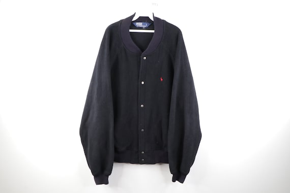 90s Ralph Lauren Full Button Fleece Varsity Bomber