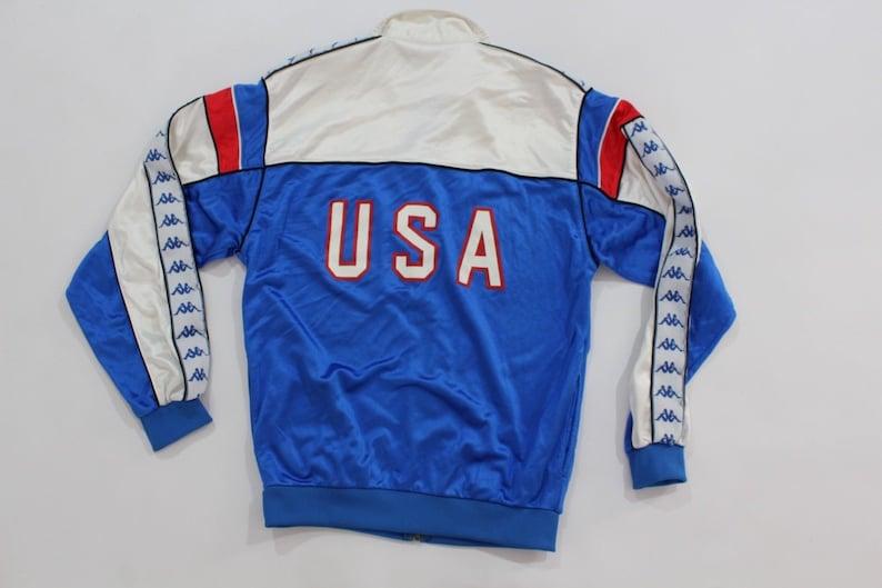 b04a23db55 80s Kappa 1984 Olympics USA Track and Field Athlete Worn Warm Up Suit  Jacket Joggers Mens Medium Blue, Vintage Kappa Jacket, 80s Kappa Pants