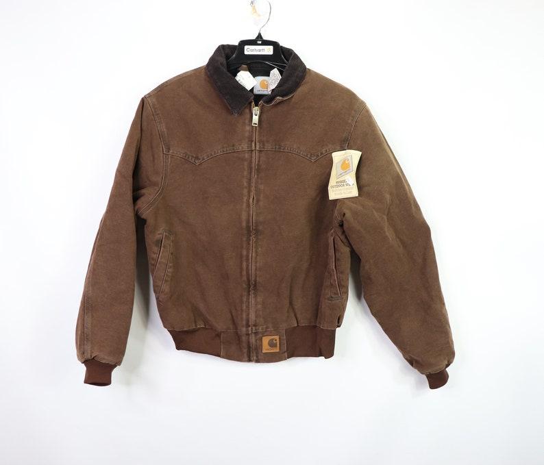 90s New Carhartt Lined Corduroy Collar Work Jacket Mens Medium Etsy