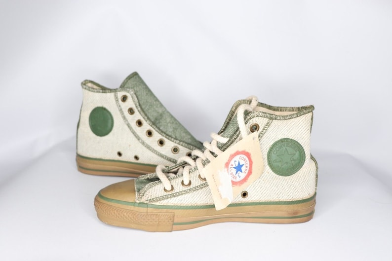 90s New Converse Chuck Taylor All Star Hi Inside Out Denim Shoes Green Mens  6 Womens 8 Made USA b2b28a40f