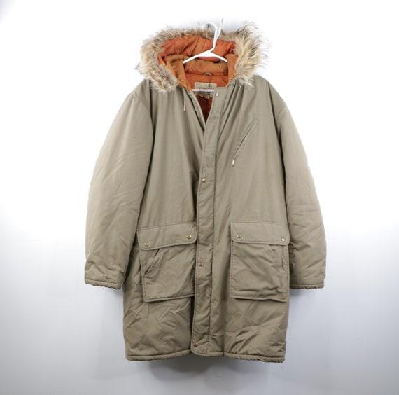 70s Fur Trim Hooded Military Snorkel Parka Jacket