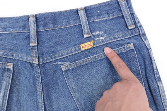 70s Rustler Distressed Straight Leg Denim Jeans B… - image 5
