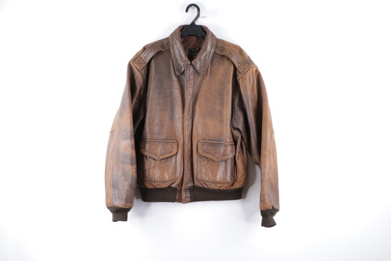 80s Avirex Distressed Leather A-2 Flight Bomber Ja