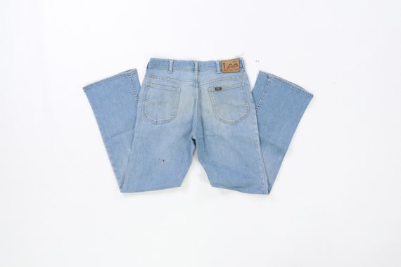 70s Lee MR Distressed Faded Flare Wide Leg Jeans … - image 6