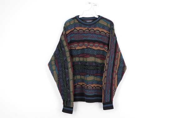 90s Streetwear Coogi Style Abstract Textured Crewn