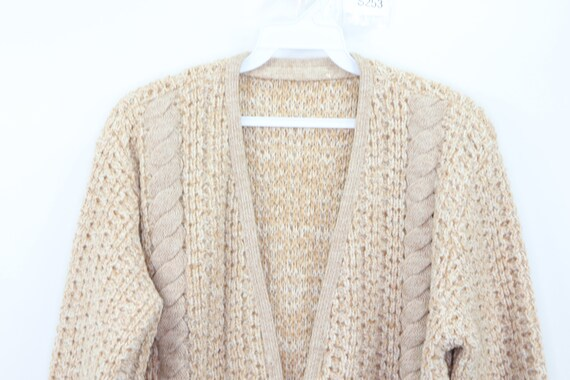 50s Hand Knit Cable Cowichan Cardigan Sweater Bei… - image 2