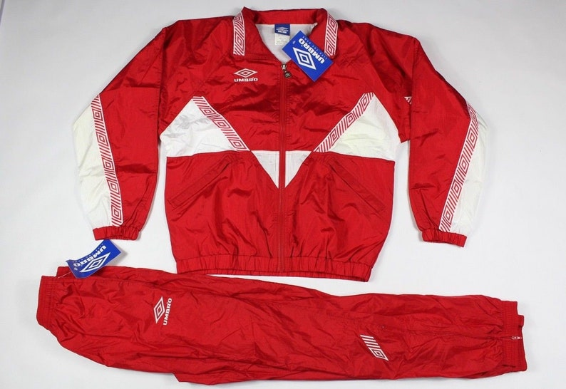 c7e73be985022 90s New Umbro Nottingham Soccer Spell Out Lined Warm Up 2 Piece Jacket  Pants Mens Small Red White, Vintage 90s Umbro Pants, Umbro Jacket Men