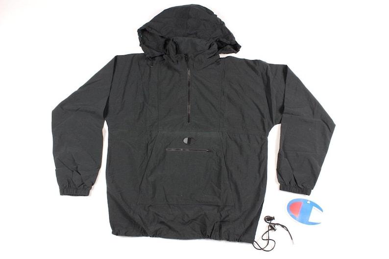 19eae83f27 90s Champion New Hooded Pullover Anorak Jacket Coat Mens Black