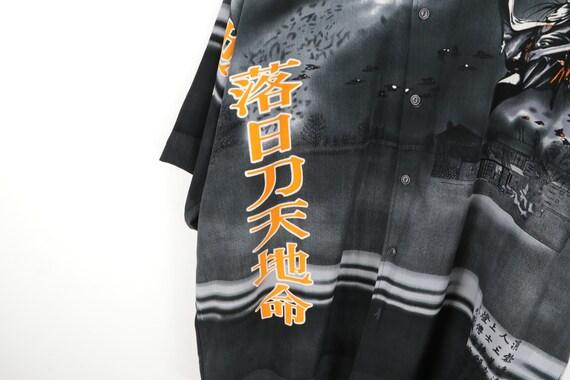 90s Streetwear Anime Print Asian All Over Print B… - image 5