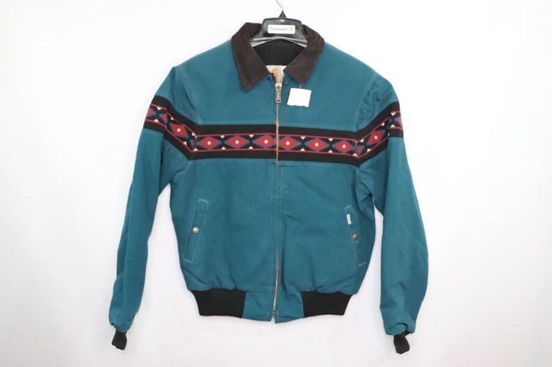 80s New Carhartt Navajo Print Full Zip Outdoor Corduroy Collar Etsy