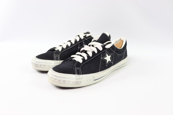 70s New Converse One Star Low Suede Sneakers Shoes Mens Size 10.5 Navy Blue White Made In USA, Vintage Converse USA Shoes Converse One Star