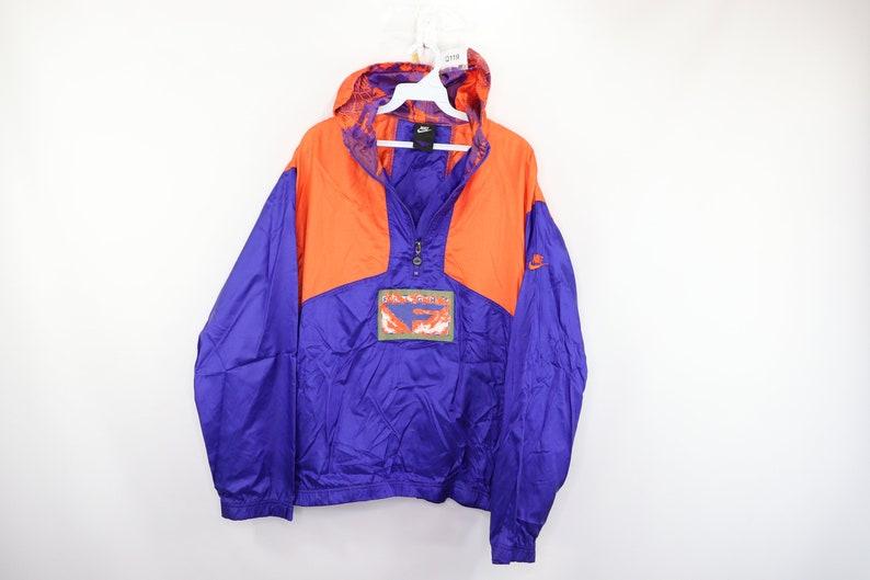 e6ae3157150b8 90s Nike Flight Spell Out Hooded Windbreaker Anorak Jacket Mens Large  Purple Orange, Vintage Nike Flight Jacket, Nike Anorak Jacket, 1990s