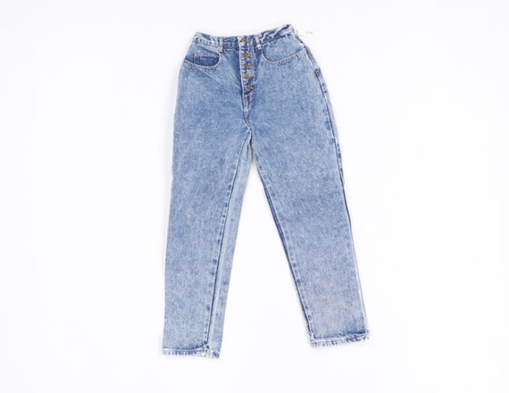 90s Streetwear Distressed Tapered Acid Wash Button