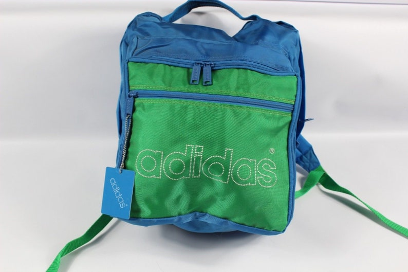 941abf53cd 80s Adidas Trefoil Spell Out Nylon Backpack Book Bag Blue
