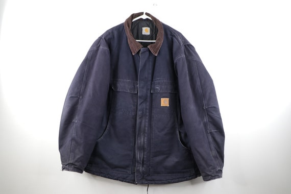 90s Carhartt Spell Out Corduroy Collar Distressed