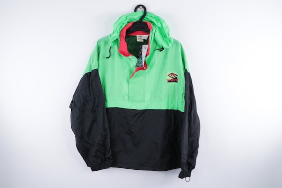 NOS 80s Umbro Spell Out Color Block Hooded Anorak