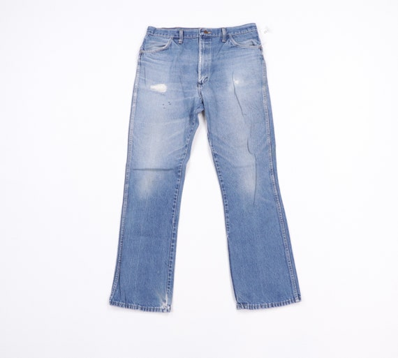 70s Rustler Distressed Bootcut Denim Jeans Blue U… - image 1