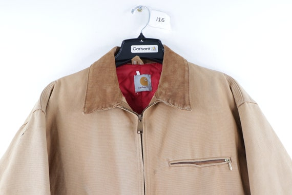 90s Carhartt Spell Out Distressed Faded Corduroy … - image 2