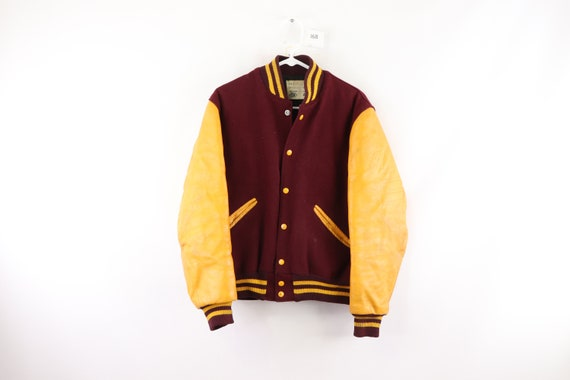 70s Distressed Wool Leather Varsity Jacket Maroon